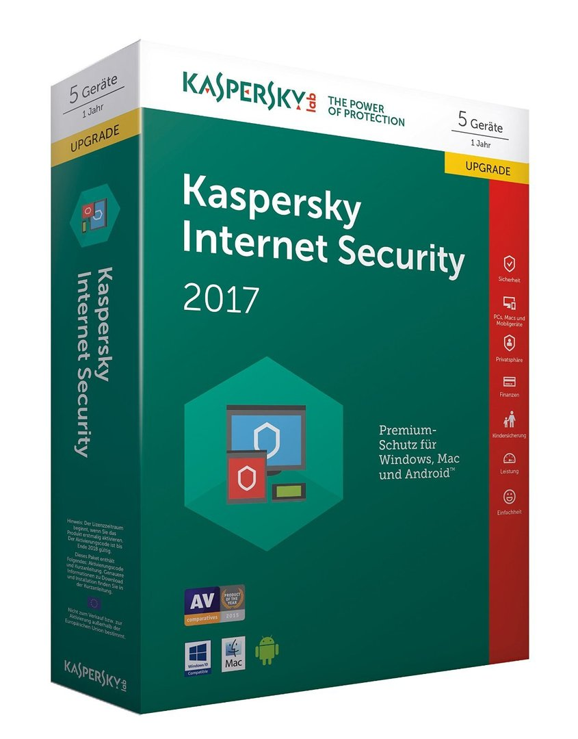 Kaspersky Internet Security 2017 5 Geräte Upgrade